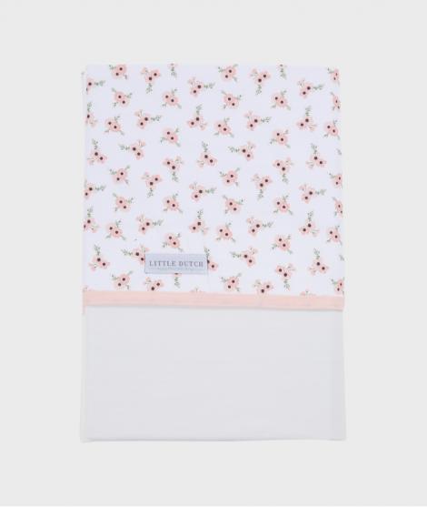 Cearsaf pentru patut, Little Dutch, Peach Poppy, 110x140 cm