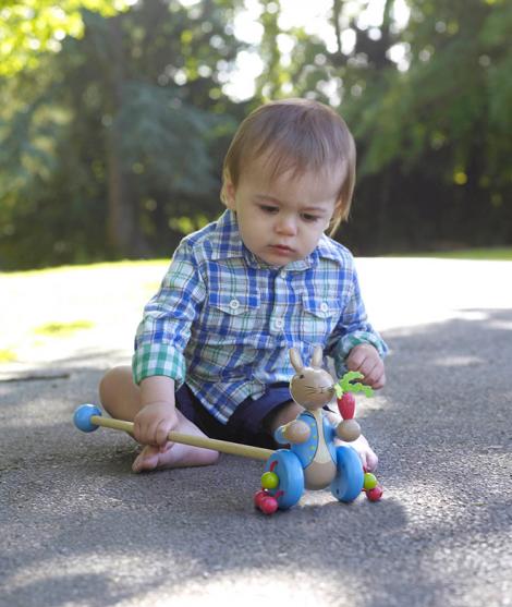 Jucarie de impins, Orange Tree Toys, Peter Rabbit, albastru