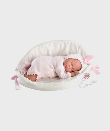 Papusa Llorens Lala ce doarme cu cosulet alb, 42 cm