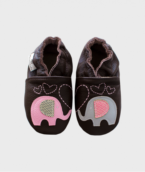 Botosei din piele, Rose et Chocolat, Elephant Kiss Brown, 0 - 4 ani