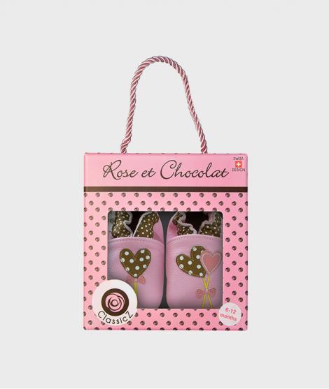 Botosei din piele, Rose et Chocolat, Polka Lolly Pink, 0 - 4 ani