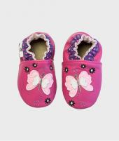 Botosei Butterfly Fuchsia, Rose et Chocolat, din piele, 0 - 4 ani - Botosei copii -ElcoKids