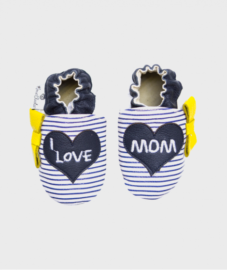 Botosei pentru bebe 0 - 4 ani, I Love Mom Navy Stripes