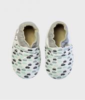 Botosei pentru copii 0 - 4 ani, Busy Car Print White - Incaltaminte copii -ElcoKids