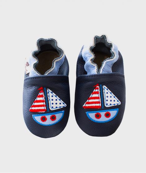Botosei din piele  0 - 4 ani, Sailboat Navy - Incaltaminte copii -ElcoKids