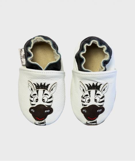 Botosei Zebra White, Rose et Chocolat, din piele, 0 - 4 ani - ElcoKids