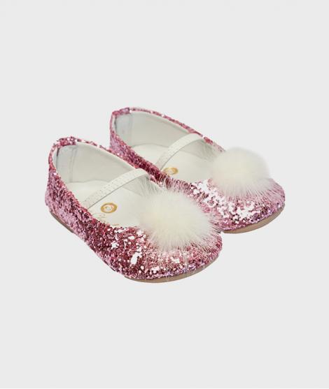 Balerini din piele, Rose et Chocolat, Glitter Pom Pom Pink, cu elastic - ElcoKids