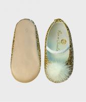 Balerini din piele, Rose et Chocolat, Glitter Pom Pom Gold, cu elastic - ElcoKids