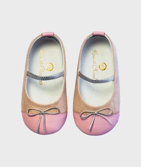 Balerini din piele, Rose et Chocolat, Baby Pink, cu elastic