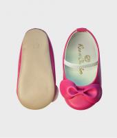 Balerini din piele, Rose el Chocolat, Ballerina Fuchsia, cu bareta - ElcoKids