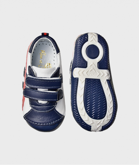 Sneakers din piele, Rose et Chocolat, White Red and Navy, cu scai