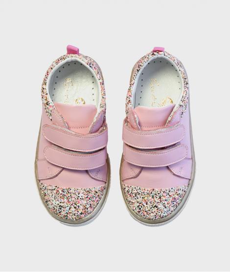 Pantofi din piele, Rose et Chocolat, Candy Sprinkle Pink, cu scai