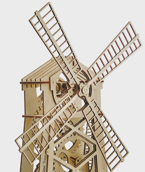 Puzzle mecanic 3D, Wood Trick, Moara, 76 piese