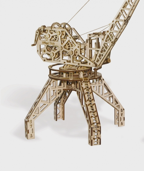 Puzzle mecanic 3D, Wood Trick, Macara cu container, 172 piese
