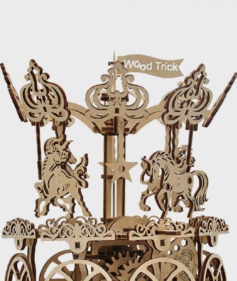 Puzzle mecanic 3D, Wood Trick, Carusel, 197 piese