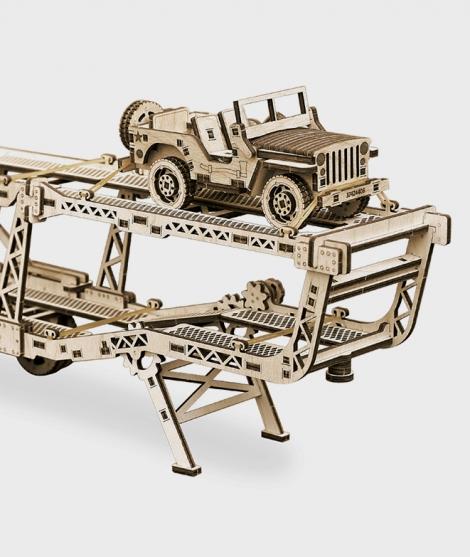 Puzzle mecanic 3D, Wood Trick, Platforma auto, 229 piese
