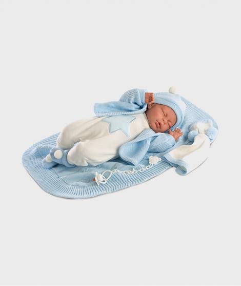 Papusa Llorens Lalo ce doarme cu saculet albastru, 42 cm