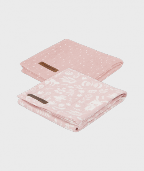 Muselina bebe, din bumbac, roz, 70 x 70 cm, set 2 bucati