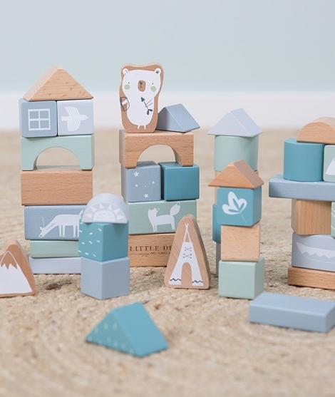 Cuburi din lemn, Little Dutch, Adventure, 50 piese