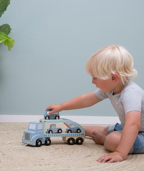 Camion jucarie din lemn pentru copii, verde, 29x9x12 cm
