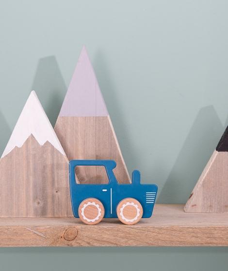 Tractor jucarie din lemn pentru copii, albastru