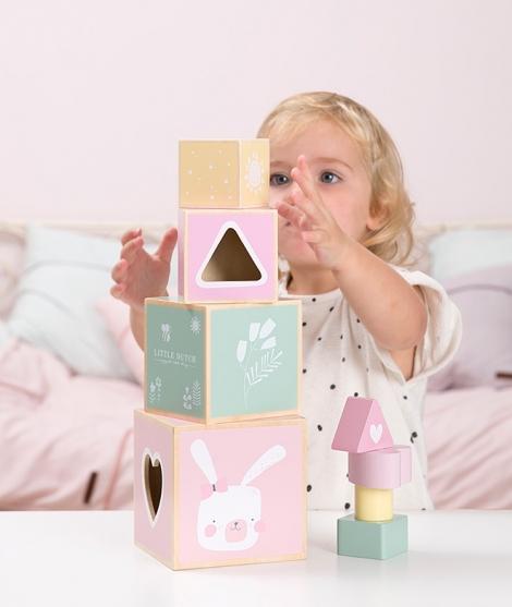 Cuburi de stivuit din lemn, pentru bebelusi si copii