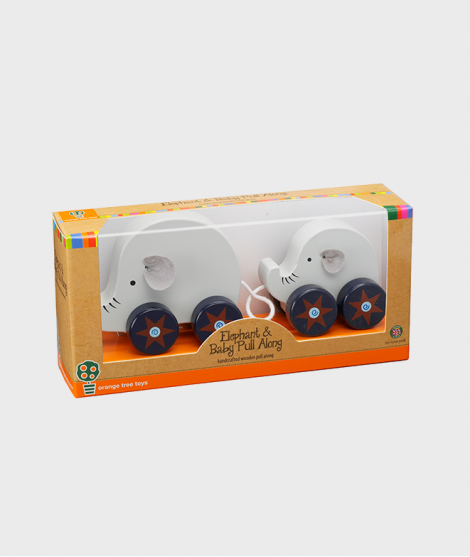Jucarie de tras, Orange Tree Toys, elefantul si puiul, din lemn