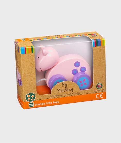 Jucarie de tras, Orange Tree Toys, porc, din lemn, roz