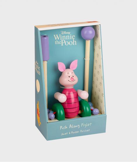 Jucarie de impins, Orange Tree Toys, Piglet, roz, din lemn