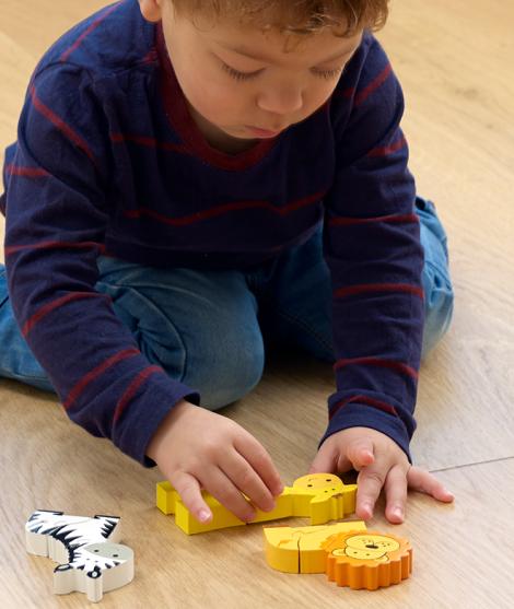 Set puzzle, Orange Tree Toys, Safari, din lemn, 12 luni+