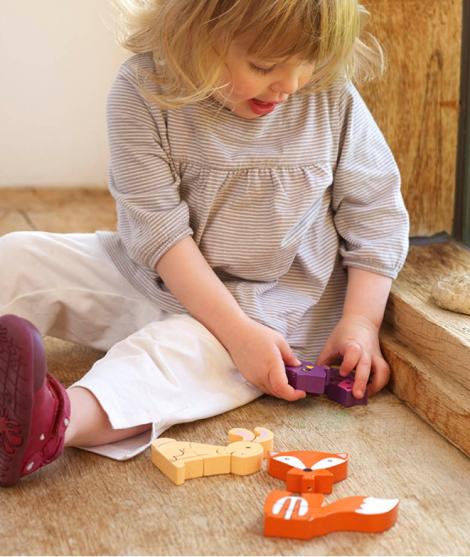 Set puzzle, Orange Tree Toys, Woodland, din lemn, 12 luni+