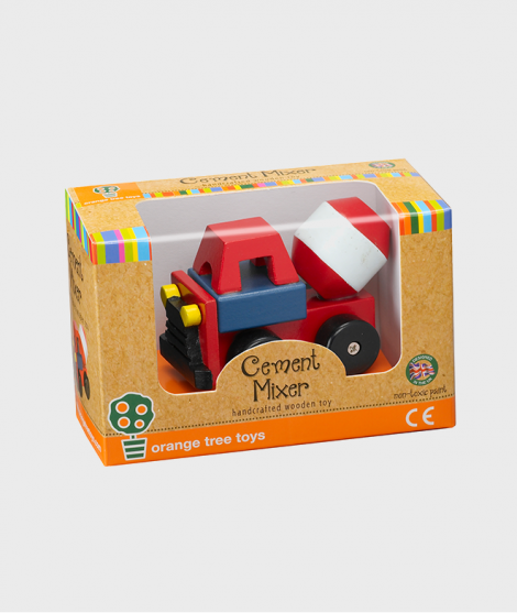 Betoniera din lemn, Orange Tree Toys, rosie, 12 luni+