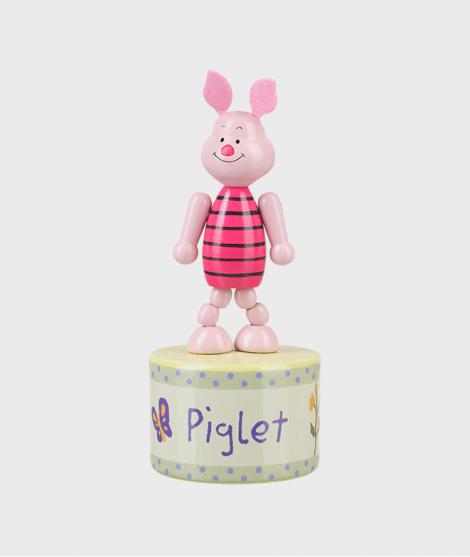 Jucarie Push Up, Orange Tree Toys, piglet, roz, din lemn