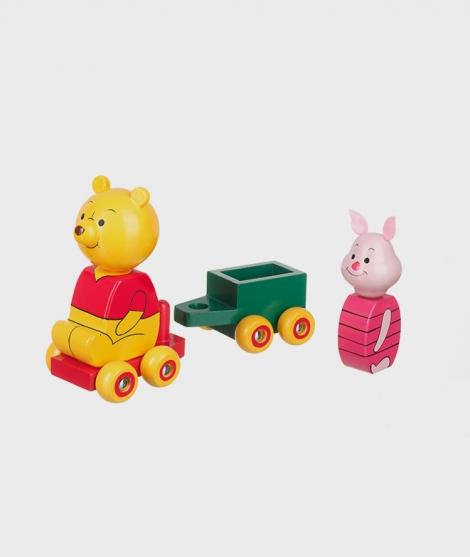 Jucarie din lemn, Winnie The Pooh si Piglet cu remorca
