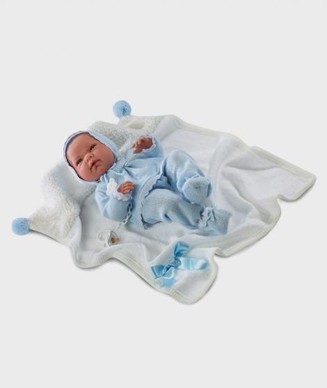 Papusa Nico, Llorens, 38 cm cu imbracaminte albastra