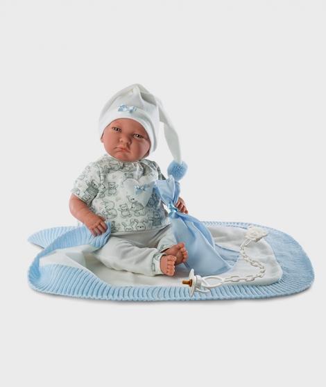 Papusa Llorens, Lalo cu paturica albastra, cu sunete, 40 cm