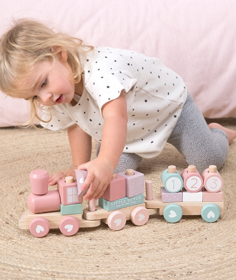 Jucarie tren de lemn, Adventure pink, Little Dutch