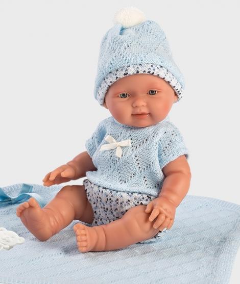 Papusa Llorens, Bebito, 26 cm, cu paturica albastra