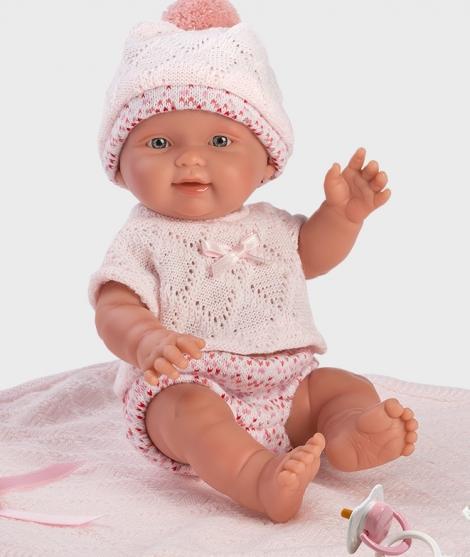 Papusa Llorens, Bebito, 26 cm, cu paturica roz