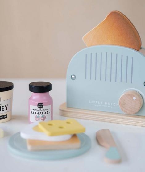 Jucarie toaster din lemn, Little Dutch, mint, 10 piese, 3 ani+