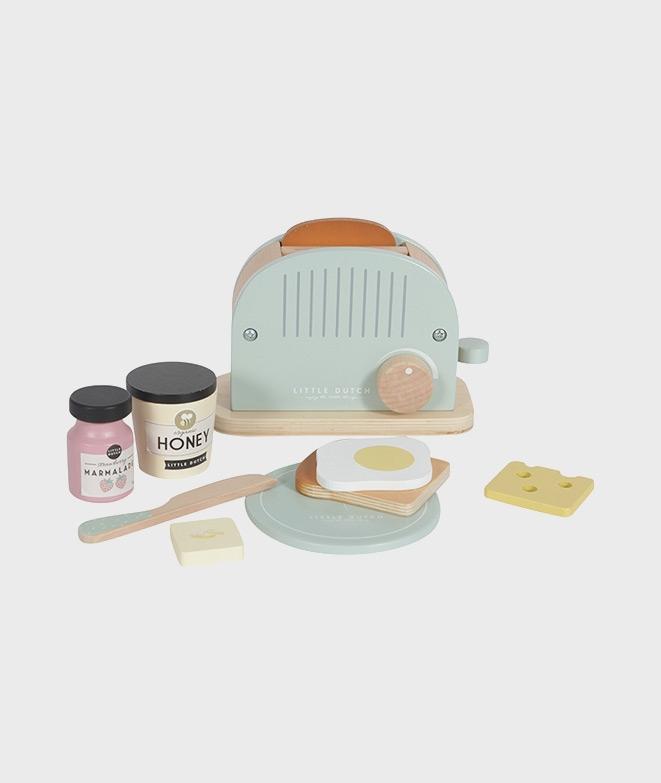 Jucarie toaster din lemn, Little Dutch, mint, 10 piese, 3 ani+ - Jucarii de rol -ElcoKids