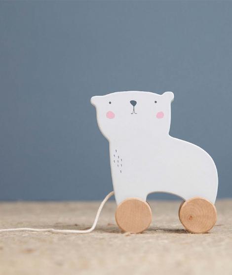 Jucarie de tras, Little Dutch, ursul polar, din lemn