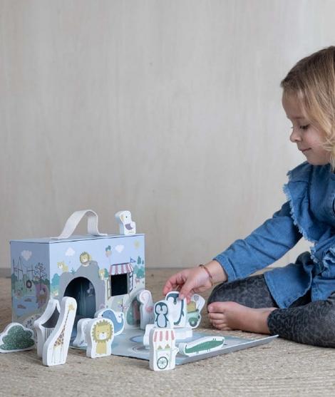 Cutie portabila de joaca, Little Dutch, zoo, 15 piese
