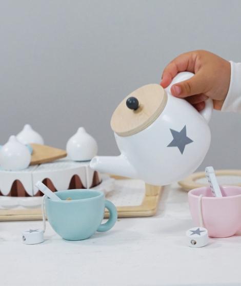 Set de ceai cu tavita si fursecuri lemn JaBaDaBaDo