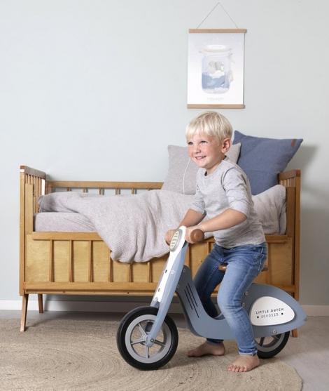Scooter copii, Little Dutch, din lemn, albastru, 2 ani+