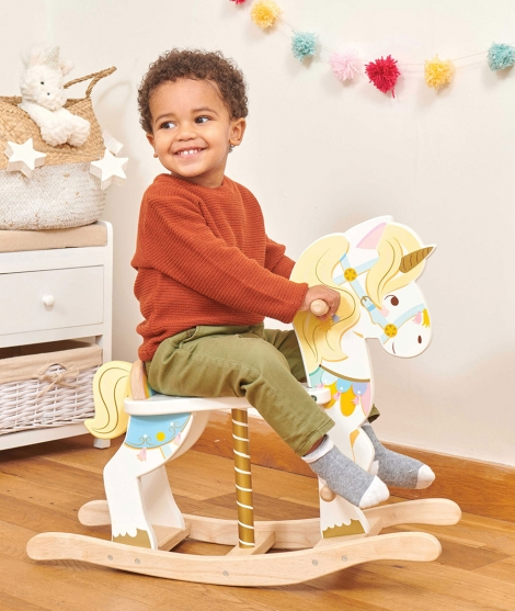Balansoar din lemn, Le Toy Van, unicorn, 12 luni+