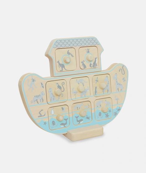 Joc de memorie, Indigo Jamm, arca lui Noe, din lemn, 12 luni+ - Jocuri educative -ElcoKids