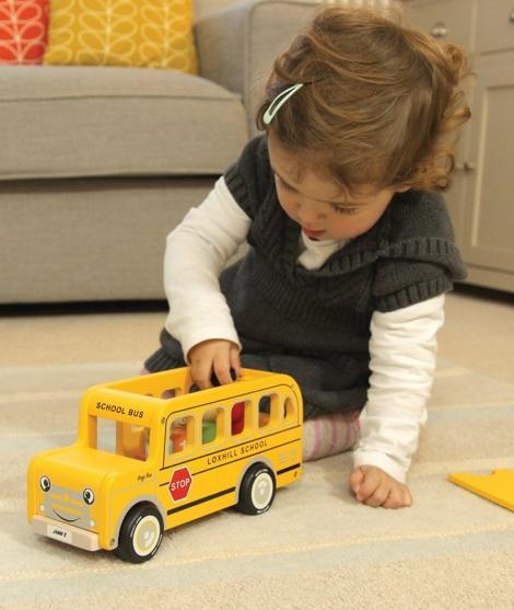 Autobuz de scoala, Indigo Jamm, galben, din lemn, 18 luni+