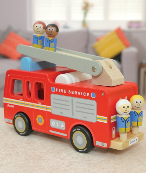 Masina de pompieri, Indigo Jamm, Freddie, din lemn, 18 luni+