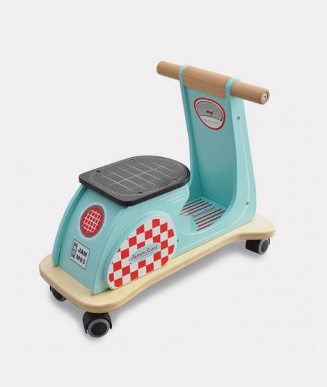 Scooter din lemn, Indigo Jamm, albastru, 4 roti, 12 luni+